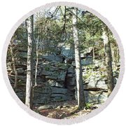 Rock Formation 3 - Ricketts Glen Round Beach Towel