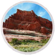 Rock Formation Of La Sal Mountains Round Beach Towel