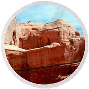 Rock Formation Of Red Sandstone Arches National Park Round Beach Towel