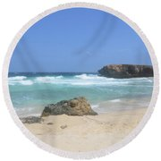 Rock Formation On Boca Keto On The Island Of Aruba Round Beach Towel