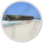 Rock Formation On The Secluded Beach In Aruba Round Beach Towel