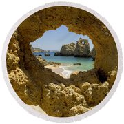 Rock Formations, Albufeira Round Beach Towel
