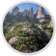 Rock Formations Montserrat Spain Round Beach Towel
