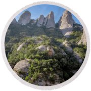 Rock Formations Montserrat Spain Round Beach Towel