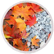 Rock Garden Autumn Leaves Round Beach Towel