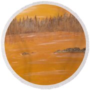 Rock Lake Morning 2 Round Beach Towel