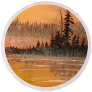 Rock Lake Morning 3 Round Beach Towel