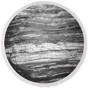 Rock Lines B W Round Beach Towel