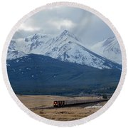 Rock Mountain Front- Train Round Beach Towel