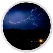 Rock Mountains Foot Hills Lightning Storm Round Beach Towel