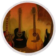 Rock N Roll Guitars Round Beach Towel