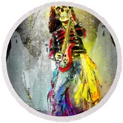 Rock N Roll The Bones Round Beach Towel