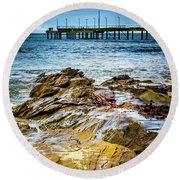 Rock Pier Round Beach Towel