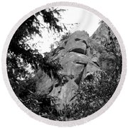 Rock Spirits At Yosemite B And W Round Beach Towel