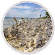 Rock Structures On Lake Michigan Round Beach Towel