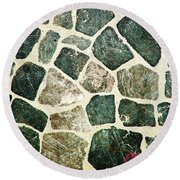 Rock Wall 01 Round Beach Towel