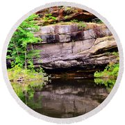 Rock Wall Reflections Round Beach Towel