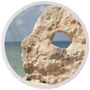 Rock With A Hole With A Tropical Ocean In The Background. Round Beach Towel