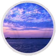 Rockaway Point Dock Sunset Violet Orange Round Beach Towel