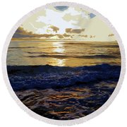 Rockaway Sunset #3 Enhanced #2 Round Beach Towel