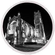 Rockefeller Chapel - B And W Round Beach Towel