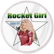 Rocket Girl Round Beach Towel