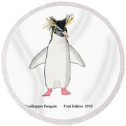 Rockhopper Penguin Round Beach Towel