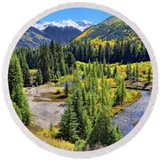 Rockies And Aspens - Colorful Colorado - Telluride Round Beach Towel