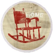 Rocking Chair Home- Art By Linda Woods Round Beach Towel