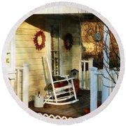 Rocking Chair On Side Porch Round Beach Towel