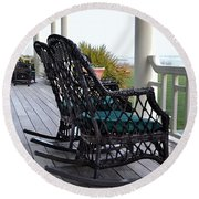 Rocking Chairs On The Porch Round Beach Towel