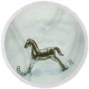 Rocking Horse In Snow Round Beach Towel