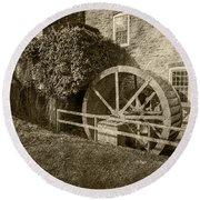Rockland Grist Mill - Sepia Round Beach Towel