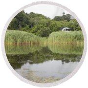 Rockport Reeds And Reflections Round Beach Towel