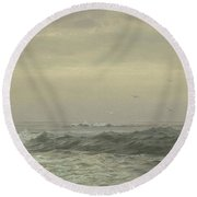 Rocks And Breaking Waves Round Beach Towel
