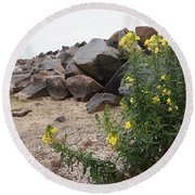 Rocks And Flowers Round Beach Towel