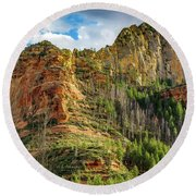 Rocks And Pines Round Beach Towel