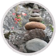 Rocks And Roses Round Beach Towel