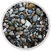 Rocks And Sticks On The Beach Round Beach Towel