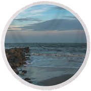 Rocks And Waves Round Beach Towel