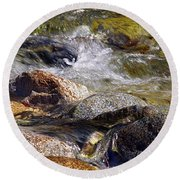 Rocks In A Stream 2a Round Beach Towel