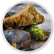 Rocks In The Creek Round Beach Towel