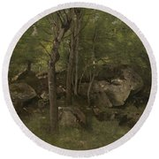 Rocks In The Forest Of Fontainebleau Round Beach Towel