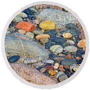 Rocks Of Many Colors On Lake Superior Shoreline In Pictured Rocks National  Round Beach Towel