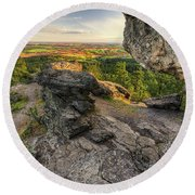 Rocks Of Sharon Overlook Round Beach Towel