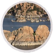 Rocks Of Watson Lake  Round Beach Towel