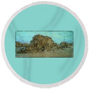 Rocks On The Beach Round Beach Towel