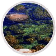 Rocks Ripples And Reflections Round Beach Towel
