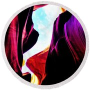 Rocks, Sunlight And Magical Colors Round Beach Towel