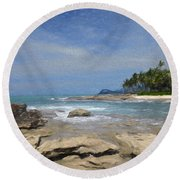 Rocks Trees And Ocean Round Beach Towel